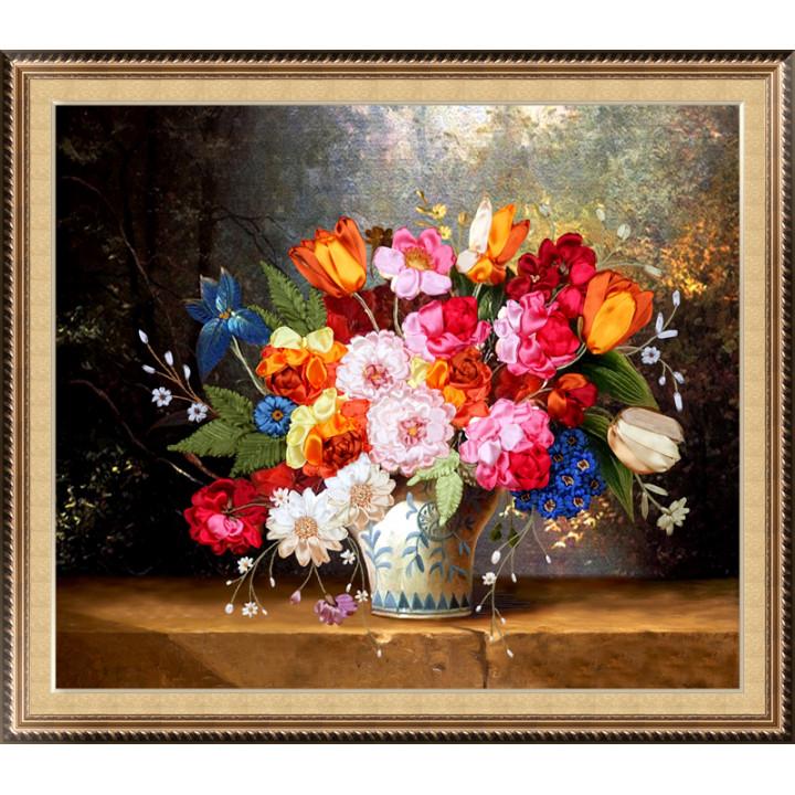 Набор для вышивки лентами Голландский натюрморт с тюльпанами и розами