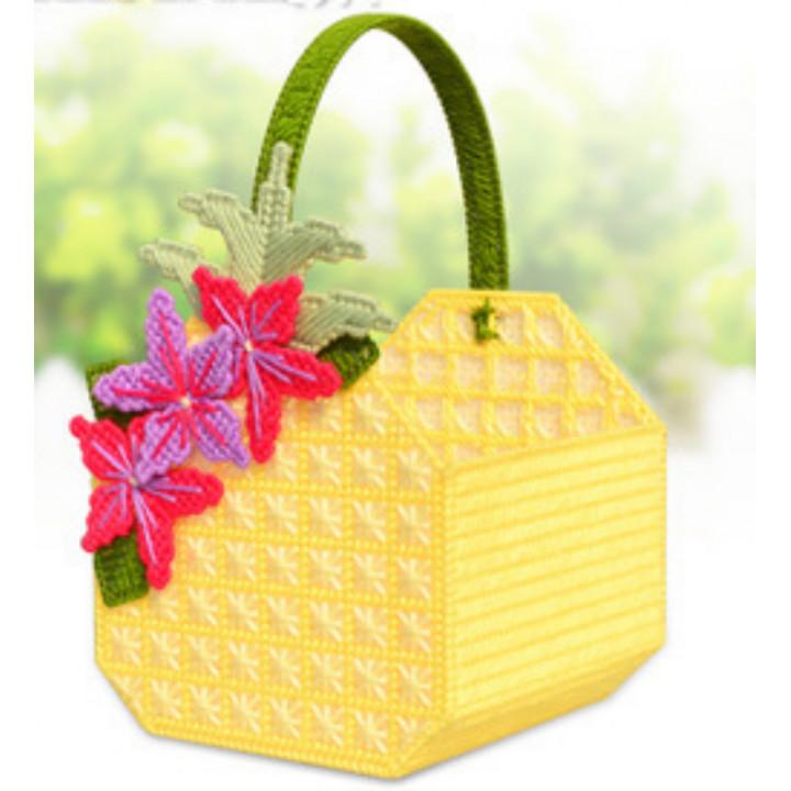 Набор для объемной вышивки Сумочка желтая с цветочками