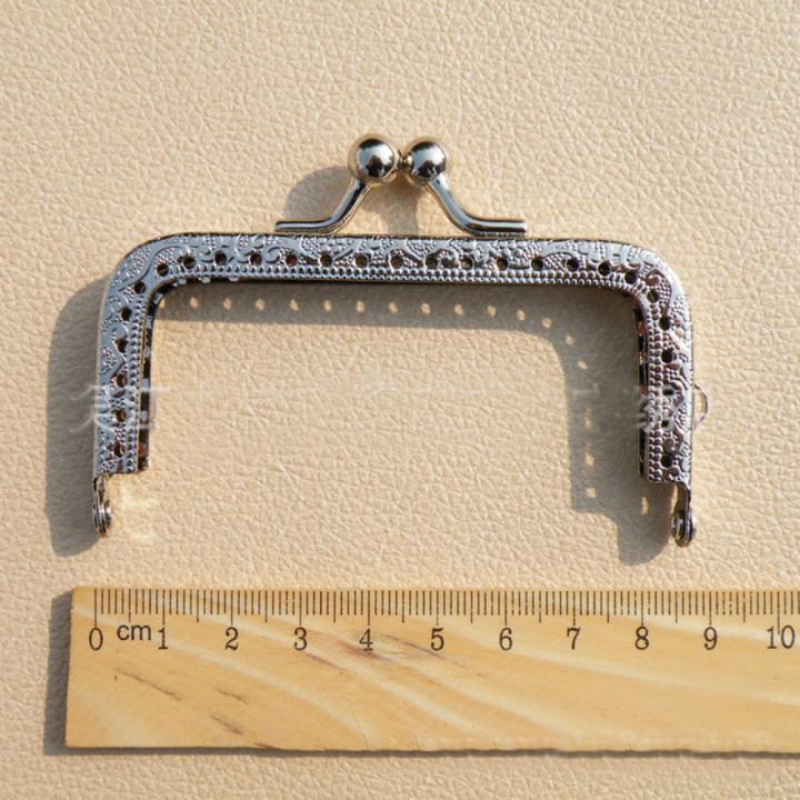 Фермуар пришивной серебро прямоугольный 8,5 см