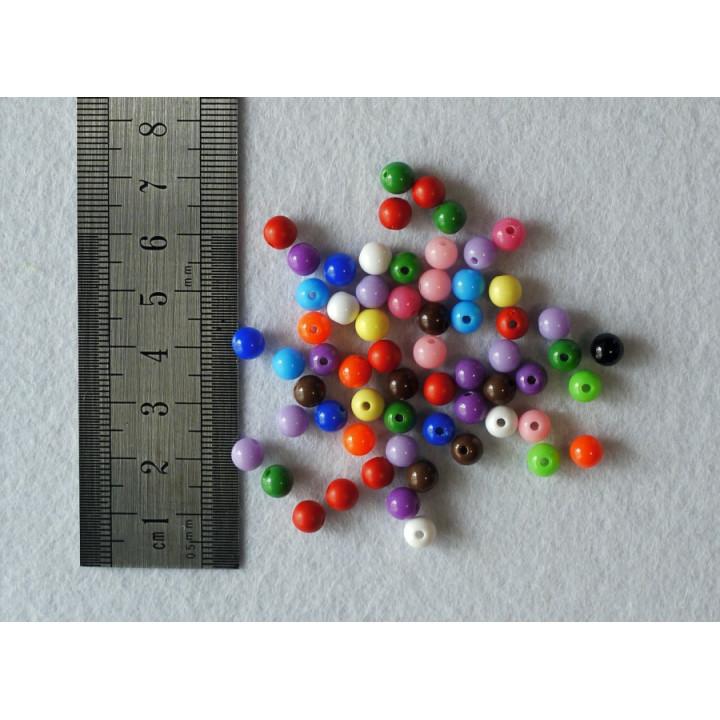 Бусины разноцветные 5 мм 10 шт.