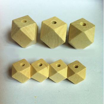 Бусины деревянные многогранники 10-30 мм