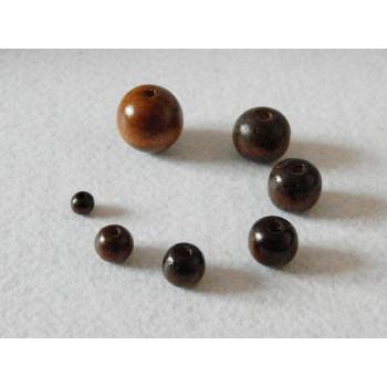 Бусины деревянные темные 6-25 мм