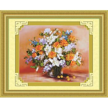 Набор для вышивки лентами Белые лилии и желтые розы