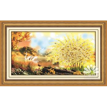 Набор для вышивки лентами Желтый пейзаж