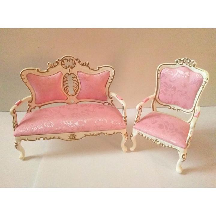 Диван и кресло для кукол Золото на белом Миниатюра 1:12