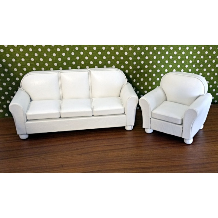 Диван и кресло для кукол Белый Миниатюра 1:12