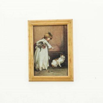 Картина в рамке Девочка с кошкой для кукольного домика масштаб 1:12, 1:6