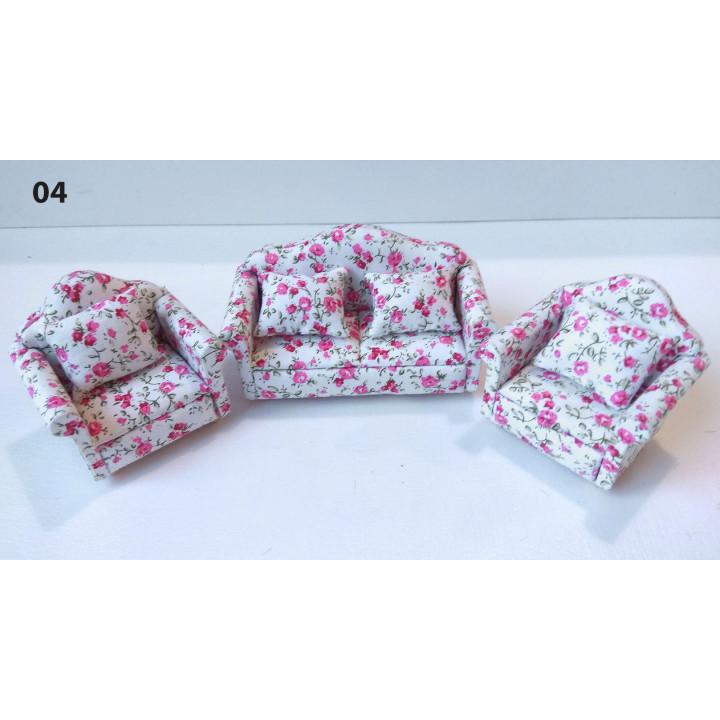 Мягкая мебель для кукол Обивка розовые цветочки