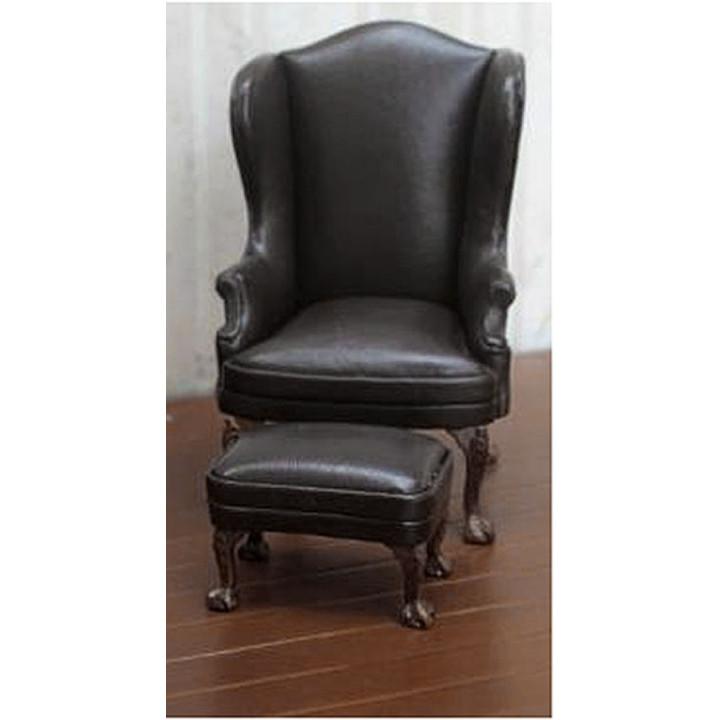 Кресло для кукол с пуфом Черное