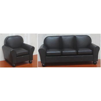 Диван и кресло для кукол Черный Миниатюра 1:12