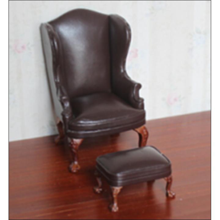 Кресло для кукол с пуфом Коричневое