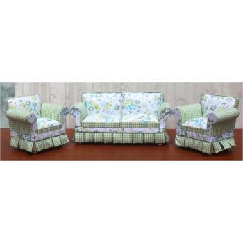Диван и кресло для кукол с Зеленой оборкой