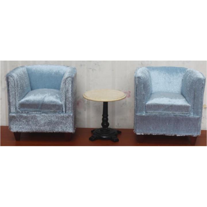 Набор мебели для кукол два кресла и столик Голубой