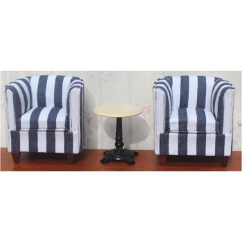 Набор мебели для кукол два кресла и столик Полоска