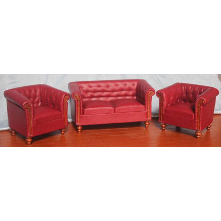 Диван и кресло для кукол Красный Миниатюра 1:12