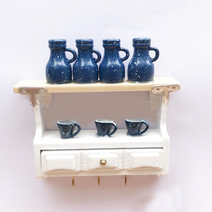Полка кухонная с кувшинами для кукол  Миниатюра 1:12