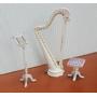 Миниатюра для кукол Арфа со стульчиком и пюпитром Белая