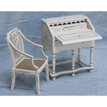 Миниатюра для кукол Бюро и стульчик Белый