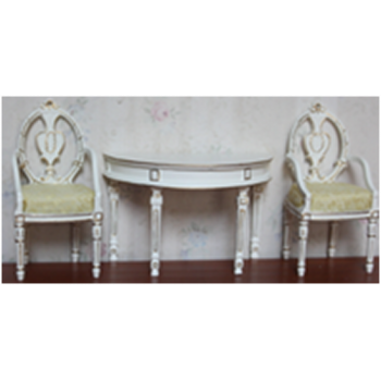 Миниатюра для кукол Столик приставной со стульями Золото на белом