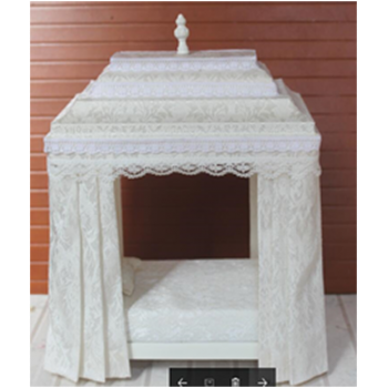 Миниатюра для кукол Кровать с балдахином Белая Премиум