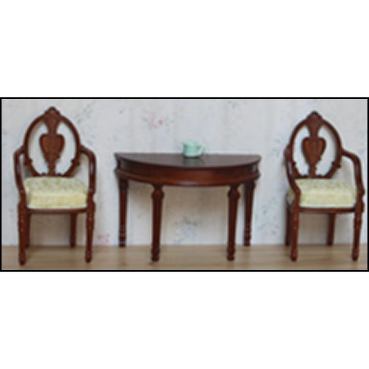 Миниатюра для кукол Столик приставной со стульями Орех