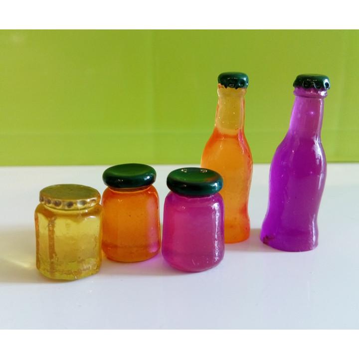 Баночки с джемом и бутылочки с напитками для кукол