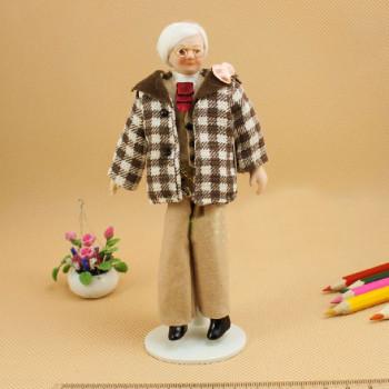 Кукла Мужчина в клетчатом пиджаке Миниатюра 1:12