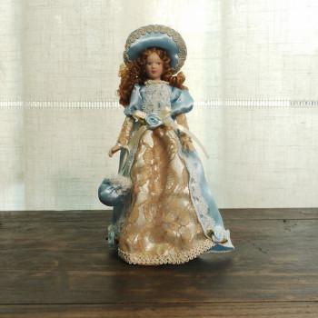 Кукла Дама в голубом платье Миниатюра 1:12