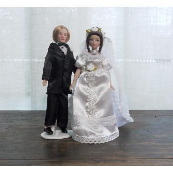 Куклы Жених и Невеста Миниатюра 1:12
