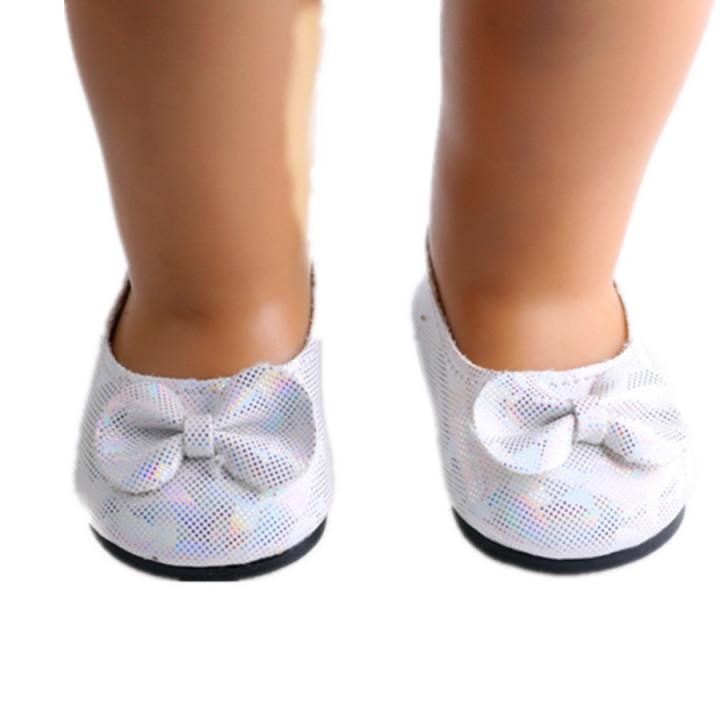 Балетки для куклы с бантом белые 7 см