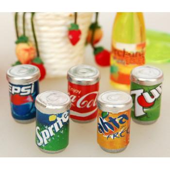 Металлические баночки с напитками для кукольной кухни
