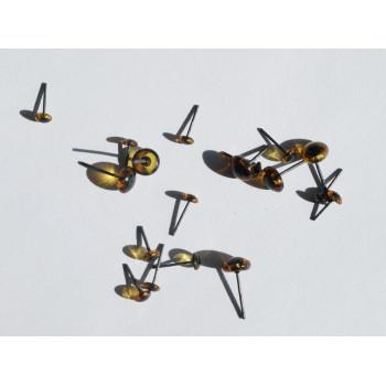 Глазки-гвоздики коричневые стеклянные для игрушек